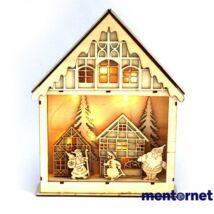 Karácsonyi ház alakú 23,5x29cm/meleg fehér LED-es fa fénydekoráció