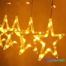 Csillag alakú fix fényű/2,5m/meleg fehér/12db LED-es USB-s fénydekoráció