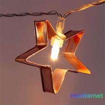 Csillag alakú fém/4m/meleg fehér/20db LED-es/USB-s fénydekoráció