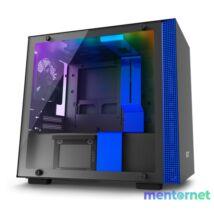 NZXT H200I Fekete-Kék (Táp nélküli) ablakos mini-ITX ház