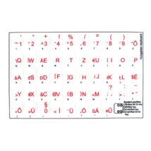 Billentyűzet matrica, átlátszó alapon piros betűk magyar ékezetes betűkkel