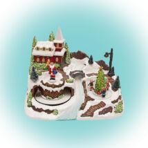 Home DRM 10 karácsonyi dekoráció, LED-es asztaldísz falu mozgó szánnal
