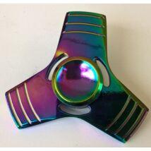 Fidget Spinner pörgettyű fém - Tri 3*színes csíkos neokróm