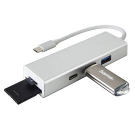 Hama 135759 ezüst USB 3.1 Type-C HUB (2x USB A, 1x USB TYPE-C) + SD/microSD kártyaolvasó