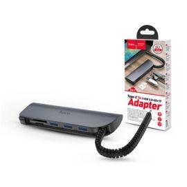 Hoco HOC0148 HB17 3xUSB 3.0/SD kártya/USB Type-C elosztó HUB