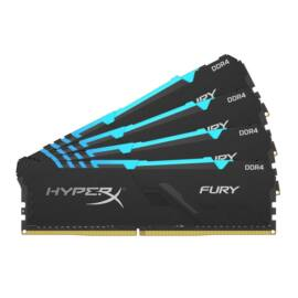 Kingston 32GB/3200MHz DDR-4 1Rx8 HyperX FURY RGB (Kit 4db 8GB) (HX432C16FB3AK4/32) memória