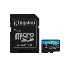 Kingston 512GB SD micro Canvas Go! Plus (SDXC Class 10 UHS-I U3) (SDCG3/512GB) memória kártya adapterrel