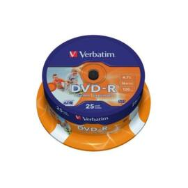 VERBATIM DVDV-16B25PP  DVD-R cake box  nyomtatható DVD lemez 25db/csomag