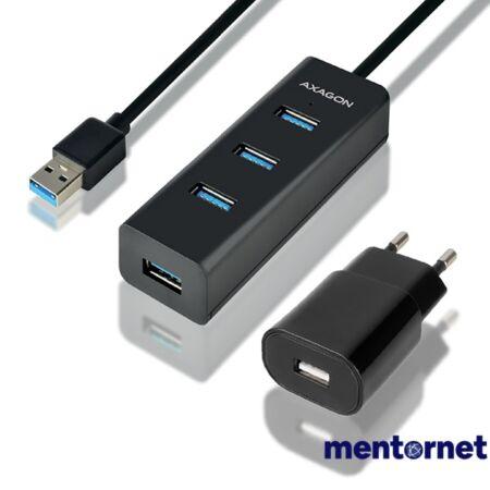 Axagon HUE-S2BP 4 portos USB3.0 gyorstöltő hosszú kábeles HUB tápegységgel