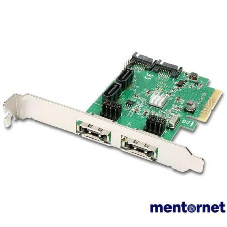 Axagon PCES-SH4 4 db belső SATAIII portos 2 db eSATA portos 2 sávos PCI-Express kártya