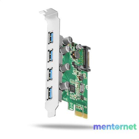 Axagon PCEU-430V 4 db külső USB3.0 portos 1 sávos PCI-Express kártya