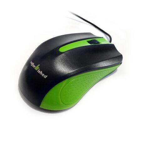 USB vezetékes egér, fekete-zöld