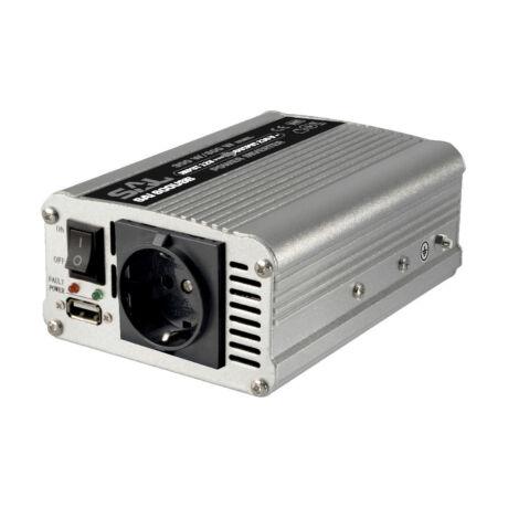 12V -> 220V, max. 600W autós feszültség inverter, USB csatlakozóval (SAI 600USB)