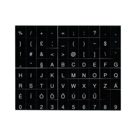 Billentyűzet matrica, fekete alapon fehér betűk magyar ékezetes betűkkel PRC