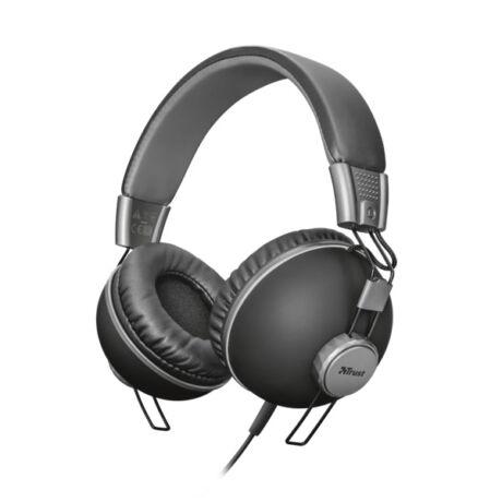 Noma fekete mikrofonos vezetékes headset - fejhallgató