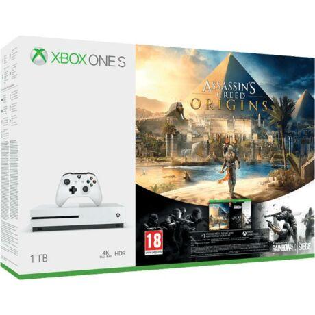 Microsoft Xbox One S 1TB konzol + Assassin's Creed Origins +Rainbow6 Siege fehér csomag 234-00235