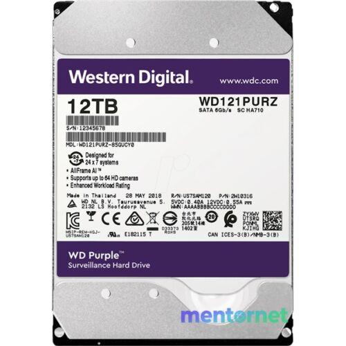 """Western Digital 3,5"""" 12000GB belső SATAIII 7200RPM 256MB PURPLE WD121PURZ winchester 3 év"""