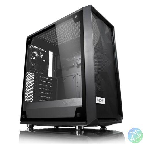 Fractal Design Meshify C Blackout TG Light Fekete ablakos (Táp nélküli) ATX ház