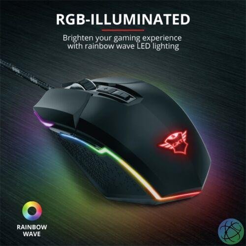 Trust GXT 950 Idon Illuminated RGB fekete gamer egér